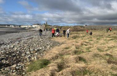 Viajantes enfrentam lixo na praia de Manx